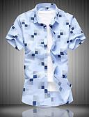 abordables Camisas de Hombre-Hombre Playa Tallas Grandes Algodón Camisa Floral / A Cuadros / Animal Azul Piscina XXXXL / Manga Corta