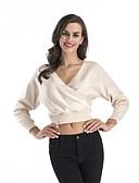 זול סוודרים לנשים-מבוגרים M / L / XL בז' / אפור / כחול ים צווארון V אביב כותנה, סוודר קצר רגיל נורמלי שרוול ארוך צבע אחיד יומי / ליציאה בגדי ריקוד נשים