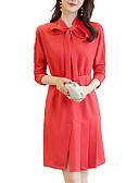 זול טישרטים לגופיות לגברים-צווארון חולצה מעל הברך אחיד - שמלה גזרת A רזה בסיסי עבודה בגדי ריקוד נשים