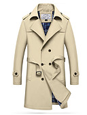 cheap Men's Jackets & Coats-Men's Trench Coat - Solid Colored, Oversized / Long Sleeve