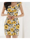 cheap Women's Dresses-Women's Butterfly Sleeves Cotton Bodycon Dress - Floral Print