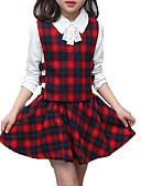 olcso Lány divat-Gyerekek Lány Egyszerű / Aktív Szabadság Egyszínű / Kockás Csokor / Nyomtatott Hosszú ujj Pamut Ruházat szett