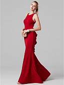 Χαμηλού Κόστους Βραδινά Φορέματα-Τρομπέτα / Γοργόνα Με Κόσμημα Μακρύ Spandex Όμορφη Πλάτη Χοροεσπερίδα / Επίσημο Βραδινό Φόρεμα με Βολάν με TS Couture®