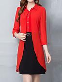 זול שמלות מודפסות-בגדי ריקוד נשים מתוחכם מידות גדולות רזה מכנסיים - קולור בלוק בסיסי שחור / צווארון חולצה / חגים