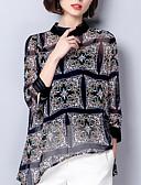 baratos Camisas Femininas-Mulheres Blusa - Para Noite Floral Gola Redonda Solto