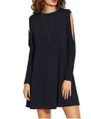 tanie Sukienki-Damskie Urlop Luźna Sukienka - Jednolity kolor, Podarte Przed kolano / Wiosna / Wzory Kwiatów