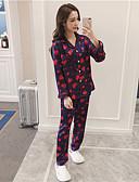 billige Dametrusser-Dame Jakkesæt Pyjamas-Trykt mønster,Blomstret