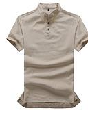 זול טישרטים לגופיות לגברים-אחיד רזה בסיסי / סגנון סיני פשתן, טישרט - בגדי ריקוד גברים / שרוולים קצרים