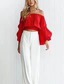 billige Damebukser-Bateau-hals Dame - Ensfarvet Chic & Moderne Skjorte