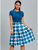 baratos Vestidos para Trabalhar-Mulheres Algodão Delgado Calças - Poá Azul Azul