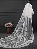 זול הינומות חתונה-שתי שכבות רטרו הינומות חתונה צעיפי קתדרלה עם ריקמה טול / קלאסי