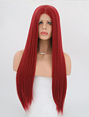 preiswerte Etuikleider-Synthetische Lace Front Perücken Glatt Synthetische Haare Rot Perücke Damen Lang Spitzenfront Rot