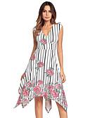 ieftine Print Dresses-Pentru femei Bumbac Pantaloni - Floral În Cruce Talie Înaltă Alb / Petrecere / În V / Asimetric / Ieșire