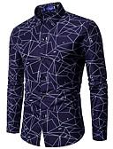 baratos Camisas Masculinas-Homens Camisa Social Estampado, Geométrica Colarinho Clássico Delgado / Manga Longa