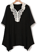 cheap Girls' Dresses-Women's Plus Size Slim Blouse - Solid Colored Lace V Neck / Spring / Summer