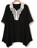 זול שמלות נשים-אחיד צווארון V רזה מידות גדולות חולצה - בגדי ריקוד נשים תחרה / אביב / קיץ
