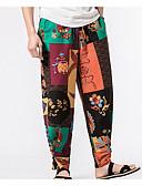 זול מכנסיים ושורטים לגברים-בגדי ריקוד גברים בוהו / סגנון סיני צ'ינו מכנסיים דפוס, שבטי / אביב / קיץ