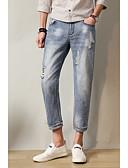 זול מכנסיים ושורטים לגברים-בגדי ריקוד גברים כותנה / פשתן ג'ינסים מכנסיים אחיד