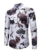 ieftine Pantaloni Bărbați si Pantaloni Scurți-Bărbați Cămașă Bumbac Activ / Șic Stradă - Floral Imprimeu / Manșon Lung