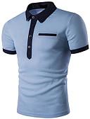 tanie Koszulki i tank topy męskie-Polo Męskie Moda miejska, Podstawowy Kołnierzyk koszuli Kolorowy blok / Krótki rękaw