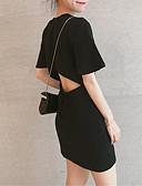 baratos Conjuntos Femininos-Mulheres Para Noite Básico / Moda de Rua Delgado Bainha Vestido Sólido Ombro a Ombro Mini Preto