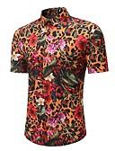 abordables Camisas de Hombre-Hombre Boho / Tejido Oriental Playa Tallas Grandes Estampado - Algodón Camisa Floral / Leopardo / Animal / Manga Corta / Primavera / Verano