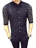billige Herreskjorter-Tynn Skjorte Herre - Stripet / Fargeblokk Grunnleggende Arbeid