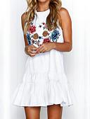 baratos Macacões & Macaquinhos-Mulheres Feriado Moda de Rua Evasê Vestido Floral Cintura Alta Mini Branco