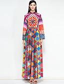 זול שמלות נשים-מקסי פרחוני קולור בלוק - שמלה סווינג סגנון רחוב בגדי ריקוד נשים