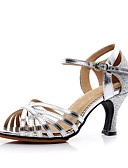 hesapli Gelin Şalları-Kadın's Latin Dans Ayakkabıları Yapay Deri Topuklular Kişiye Özel Kişiselleştirilmiş Dans Ayakkabıları Altın / Gümüş / İç Mekan