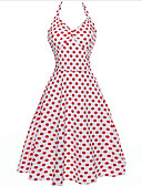 cheap Women's Dresses-Women's Polka Dot Daily / Going out Slim Swing Dress - Solid Colored V Neck / Strap Summer Red Pink Light Blue L XL XXL