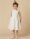cheap Flower Girl Dresses-A-Line Knee Length Flower Girl Dress - Cotton Sleeveless Jewel Neck with Pearls by LAN TING BRIDE®