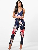 cheap Women's Jumpsuits & Rompers-Women's Floral Party / Going out Street chic V Neck Blue Harem Jumpsuit, Floral Backless M L XL Cotton Sleeveless Spring Summer / Sexy