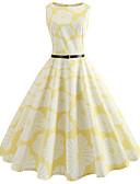 tanie Sukienki-Damskie Wyjściowe Vintage Bawełna Szczupła Swing Sukienka - Kwiaty, Nadruk Do kolan