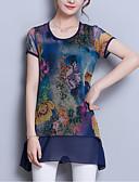billige Kjoler i plus størrelser-Løstsiddende Dame - Blomstret Patchwork / Trykt mønster Basale / Gade I-byen-tøj Plusstørrelser Bluse / Sommer