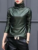 preiswerte Damen Hosen-Damen Solide - Street Schick Ausgehen Übergrössen Baumwolle T-shirt, Rollkragen / Herbst / Winter