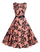 cheap Women's Dresses-Women's Floral Daily / Holiday Vintage A Line Dress - Trees / Leaves Print Summer Pink L XL XXL