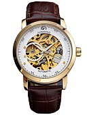cheap Sport Watches-Men's Mechanical Watch Japanese Calendar / date / day / Chronograph / Large Dial Genuine Leather Band Luxury / Vintage Black / Stainless Steel