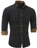 cheap Men's Shirts-Men's Plus Size Shirt - Solid Colored / Long Sleeve