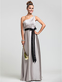 cheap Bridesmaid Dresses-Sheath / Column One Shoulder Floor Length Satin Chiffon Bridesmaid Dress with Beading / Side Draping / Ruched by LAN TING BRIDE®