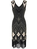 cheap Prom Dresses-The Great Gatsby Vintage The Great Gatsby Costume Women's Dress Black Golden Red Vintage Cosplay Polyester Sleeveless
