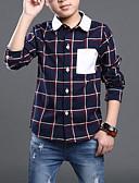 tanie Topy dla chłopców-Dzieci Dla chłopców Casual Codzienny Kratka Kratka / Patchwork Długi rękaw Regularny Jedwab wiskozowy Koszula Beżowy 140