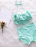 abordables Biquinis y Bañadores para Mujer-Mujer Bikini - Volante, Un Color Alta cintura
