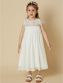 cheap Flower Girl Dresses-Sheath / Column Knee Length Flower Girl Dress - Chiffon / Lace Short Sleeve Scoop Neck with Lace by LAN TING BRIDE®