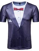 זול טישרטים לגופיות לגברים-גיאומטרי צווארון עגול בסיסי טישרט - בגדי ריקוד גברים דפוס / שרוולים קצרים