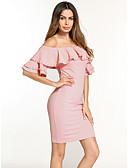 זול שמלות נשים-מעל הברך חרוזים, אחיד - שמלה צינור נדן בסיסי סגנון רחוב בגדי ריקוד נשים