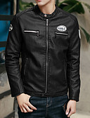 cheap Men's Jackets & Coats-Men's Ordinary Leather Jacket - Solid Colored Stand