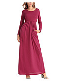cheap Maxi Dresses-Women's Daily Maxi Slim Swing Dress - Solid Colored Spring Cotton Gray Wine Army Green L XL XXL