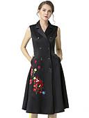 זול שמלות נשים-צווארון V מעל הברך אחיד / פרחוני - שמלה סקייטר\מחליקה על הקרח כותנה בסיסי בגדי ריקוד נשים