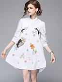 זול שמלות נשים-מעל הברך רקום, חיה - שמלה גזרת A חולצה חמוד בסיסי בגדי ריקוד נשים